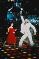 American actor John Travolta on the set of Saturday Night Fever, directed by Joh...