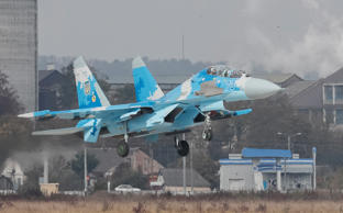 A file photo showing Ukrainian Su-27 fighter jet lands during the Clear Sky
